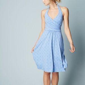 Boden St. Lucia Blue Patterned Halter Dress